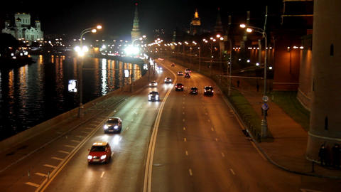 Moscow night road near Kremlin Stock Video Footage