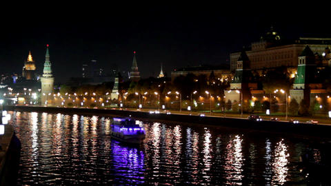 Moscow Kremlin river night landscape with ships Stock Video Footage