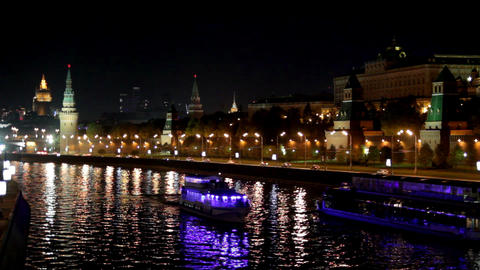 Moscow Kremlin river night landscape with ships Footage