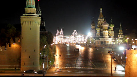 Moscow Kremlin night landscape Footage