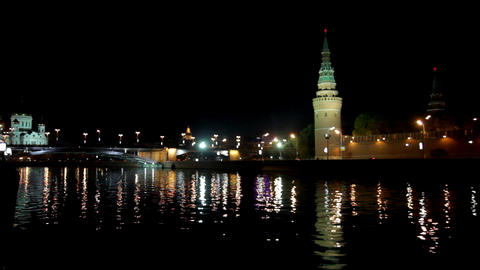 Moscow Kremlin river night landscape Stock Video Footage