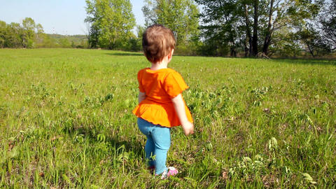 Baby first steps on green lawn Stock Video Footage