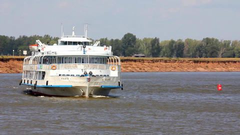 passenger ship floating in the river Stock Video Footage
