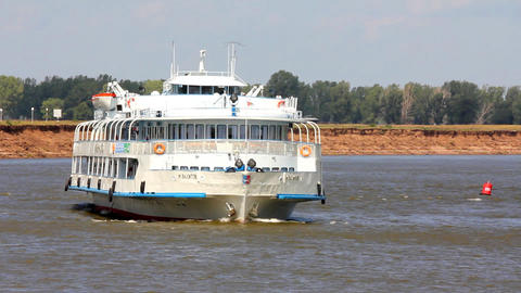 passenger ship floating in the river Footage