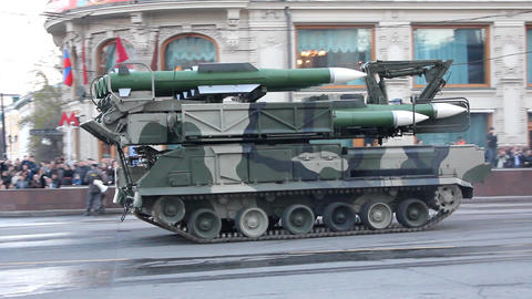 missiles and military equipment on city streets Stock Video Footage