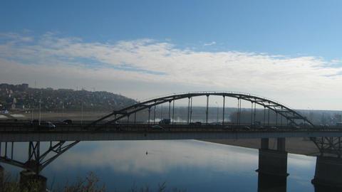 View on bridge in Ufa, Russia - timelapse Stock Video Footage