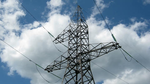timelapse - reliance power under sky with clouds Stock Video Footage