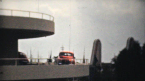 New State Of The Art Car Parkade 1940 Vintage 8mm Stock Video Footage
