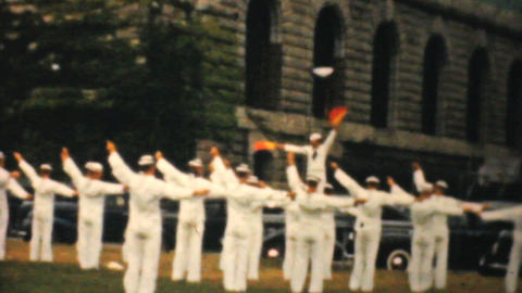 Washington Monument Marines Doing Semaphore 1940 stock footage