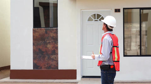 Male Building Inspector Taking Notes Stock Video Footage