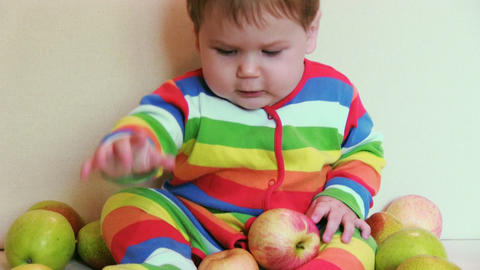 Adorable Child With Apples stock footage