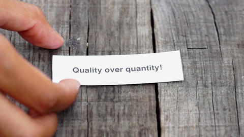 Quality over Quantity Stock Video Footage