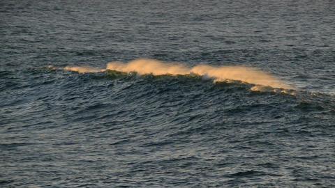beautiful wave crest at sundown 11124 Stock Video Footage