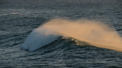 beautiful wave crest at sundown 11124 Footage