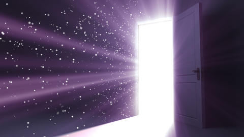 Door opening to a heaven light. Flares flying. HD Stock Video Footage