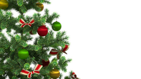 Beautiful Christmas Tree Close-up On White Backgro stock footage