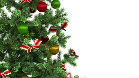 Beautiful Christmas tree close-up on white backgro Stock Video Footage