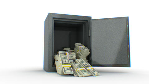 Dollars falling out from the Safe. HD 1080 Stock Video Footage