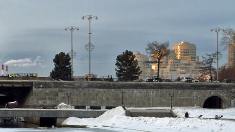 Dam with the Olympic clock, Yekaterinburg. Time La Stock Video Footage