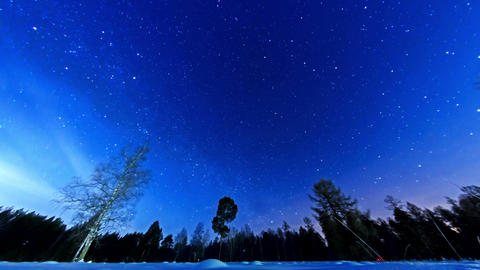 Night starry sky on a fisheye. Fixed distortion. T Stock Video Footage