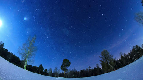 Milky Way in the night sky. Fisheye. Time Lapse Stock Video Footage