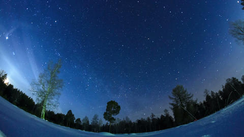 Milky Way in the night sky. Fisheye. Time Lapse Footage