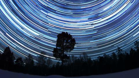 Star tracks. Fisheye. Time Lapse Footage