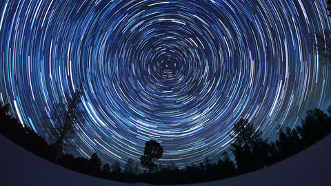 Star tracks. Fisheye. Time Lapse Footage