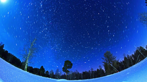 Stars leave traces. Fisheye. Time Lapse Stock Video Footage