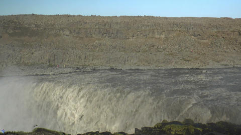 pan over detifoss waterfall in iceland Stock Video Footage