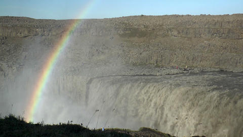 Pan Over Detifoss Waterfall In Iceland stock footage