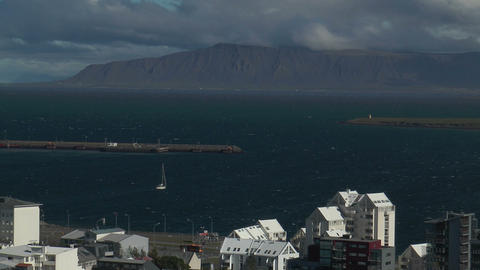 Reykjavik harbor and fjord view from church tower Stock Video Footage