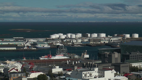 Reykjavik harbor view from church tower wide shot Footage