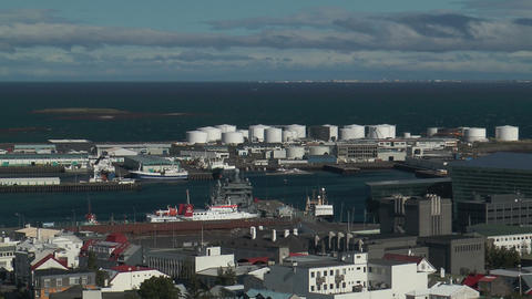 Reykjavik harbor view from church tower wide shot Stock Video Footage