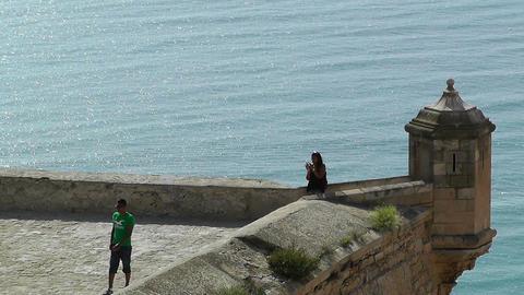 Alicante Spain 28 Castle Santa Barbara Stock Video Footage