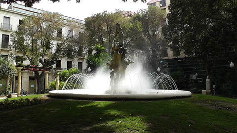 Alicante Spain 39 Plaza Gabriel Miro fountain Footage