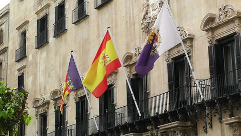 Alicante Spain 61 Placa Ajutament flags Stock Video Footage