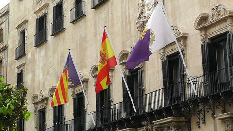 Alicante Spain 61 Placa Ajutament flags Footage