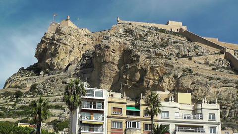 Alicante Spain 74 castle on hill Stock Video Footage