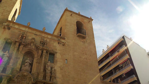 Alicante Spain 80 pan Basilica Santa Maria Footage