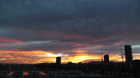 Alicante Spain 111 dramatic sunset Footage