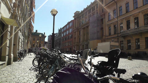Bikes in Stockholm Downtown 2 Stock Video Footage
