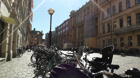 Bikes in Stockholm Downtown 2 Footage