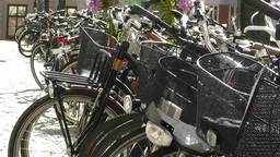 Bikes in Stockholm Downtown 4 Stock Video Footage