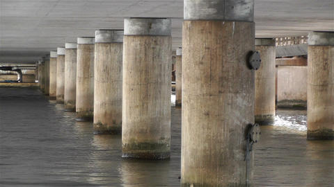 Concrete Bridge Pillars In Water 2 stock footage