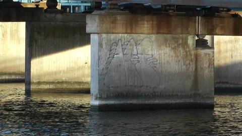 Concrete Bridge Pillars in Water 4 Stock Video Footage