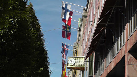 Flags of World in Stockholm Downtown 1 Footage