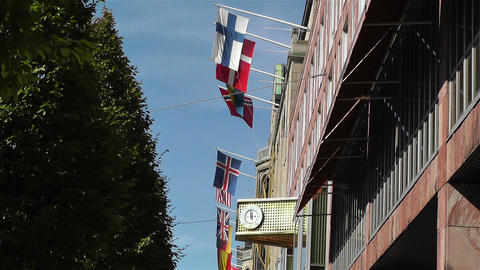 Flags of World in Stockholm Downtown 1 Stock Video Footage