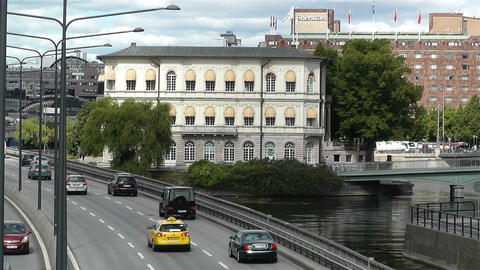Gamla Stan Stockholm 2013 10 traffic Stock Video Footage