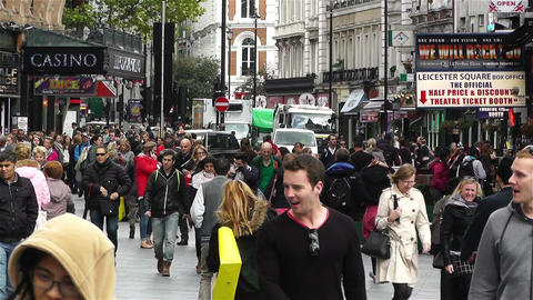 Leicester Square London 5 handheld Stock Video Footage